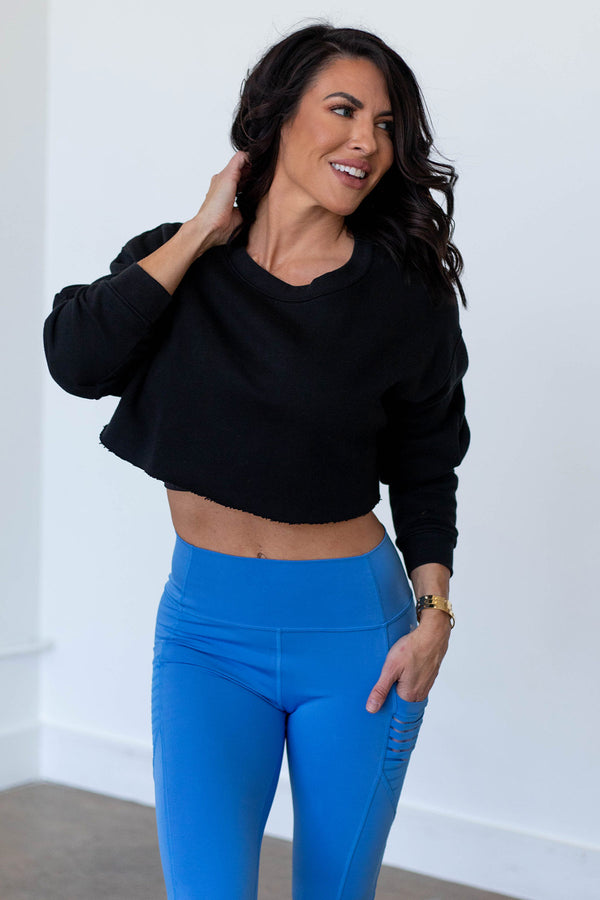 Obsession Cropped Sweatshirt-Black