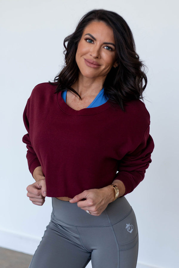 Obsession Cropped Sweatshirt-Tawny Port
