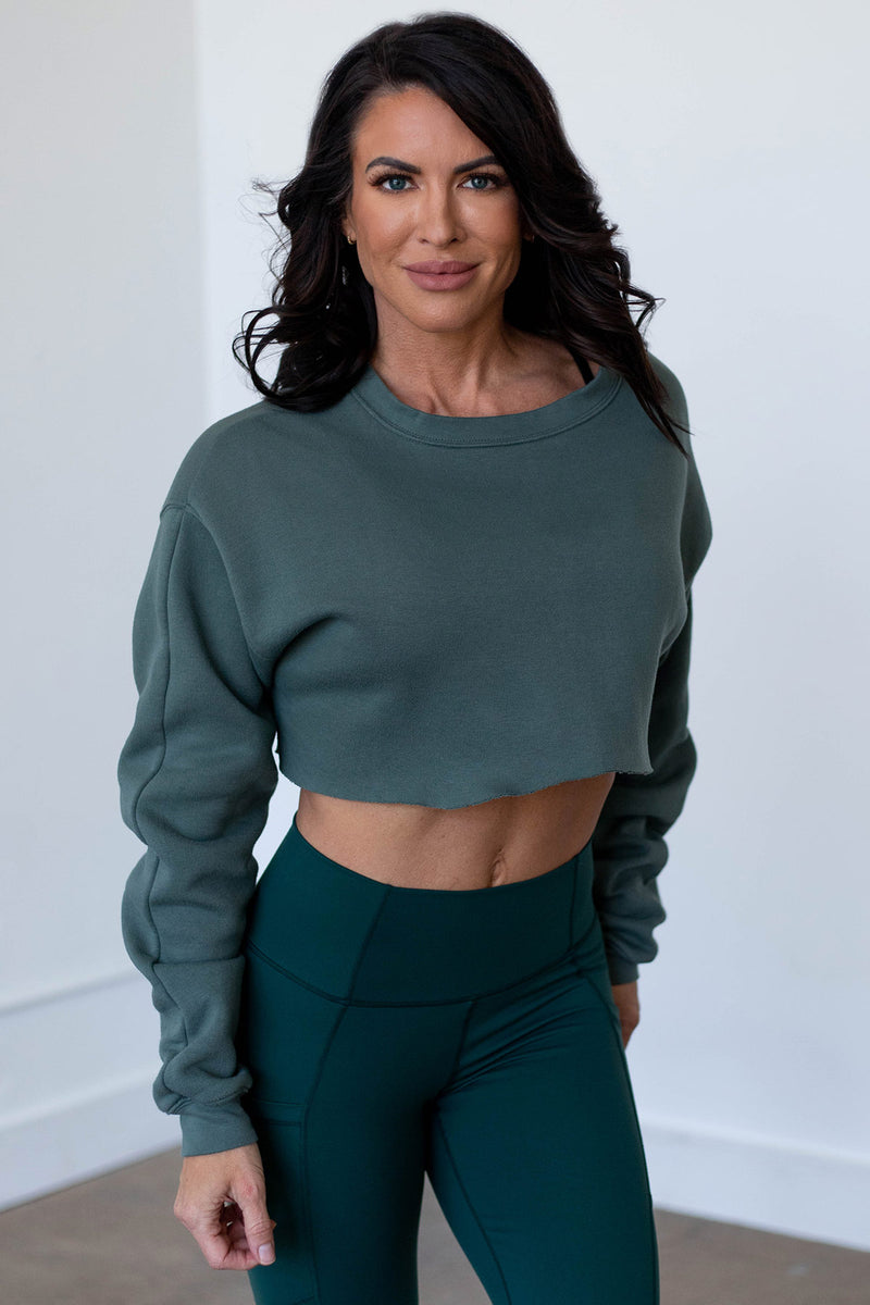Obsession Cropped Sweatshirt-Zen Garden Green