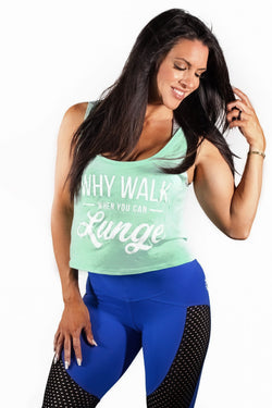 """Why Walk When You Can Lunge"" Boxy Tank - Mint"