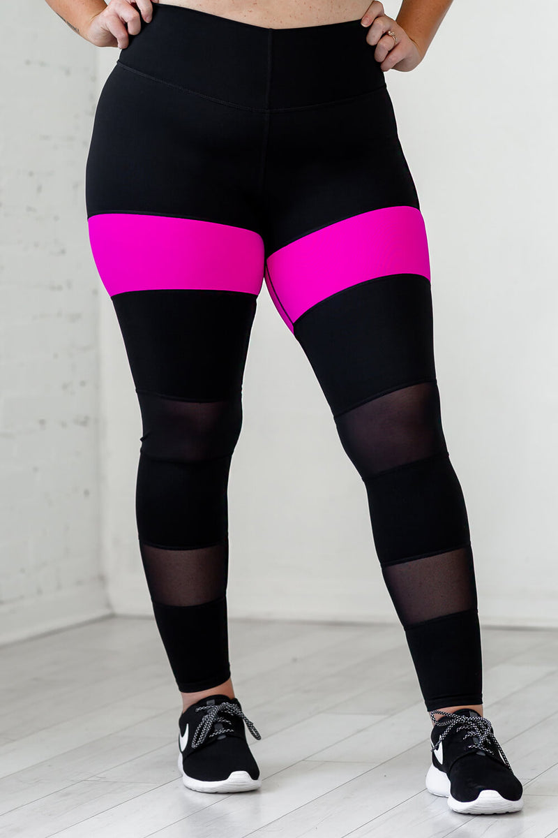 Booty Legging - Black with Pink