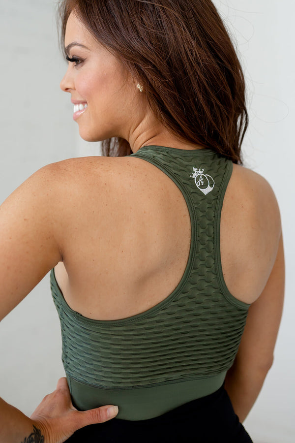 Ideal Cropped Tank-Olive Leaf