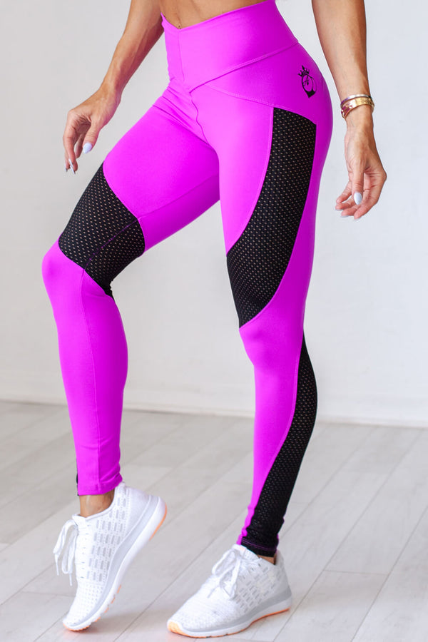 Laser Cut Legging - Purple & Black