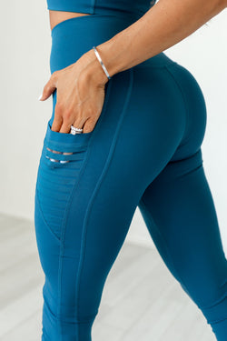 High-Waist Obsession Legging- Eclipse Blue