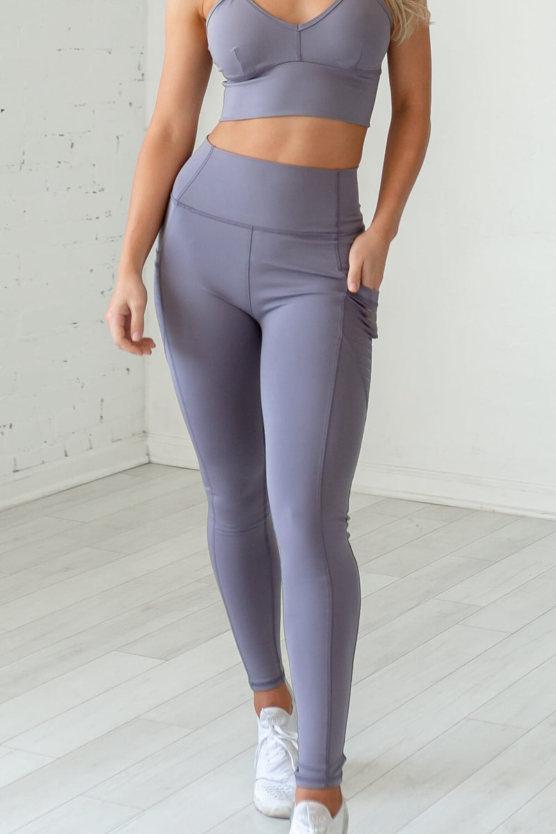 High-Waist Obsession Legging- Grey Mauve