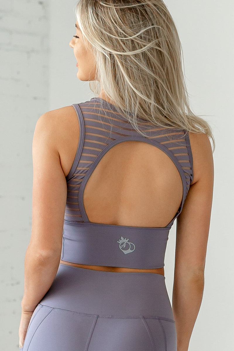 Obsession Open Back Tank- Grey Mauve