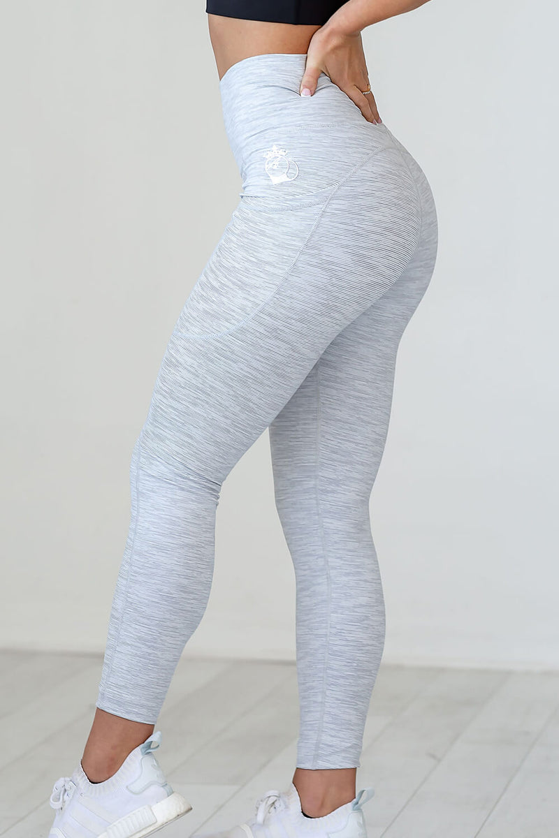 Hi-Low Pocket Legging - White Stripe