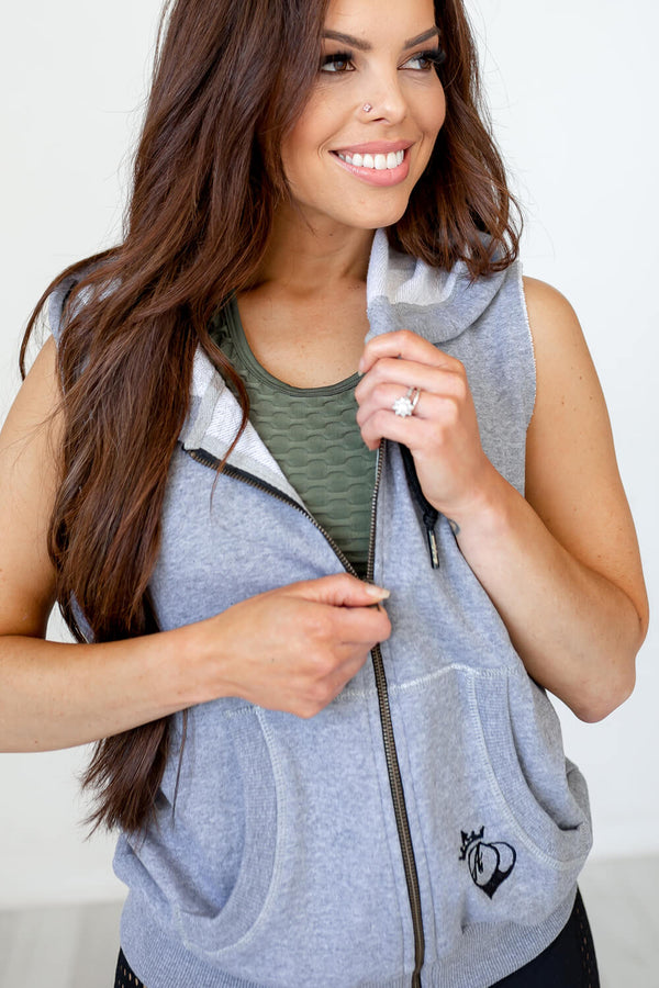 Sleeveless Hoodie- Heather Grey