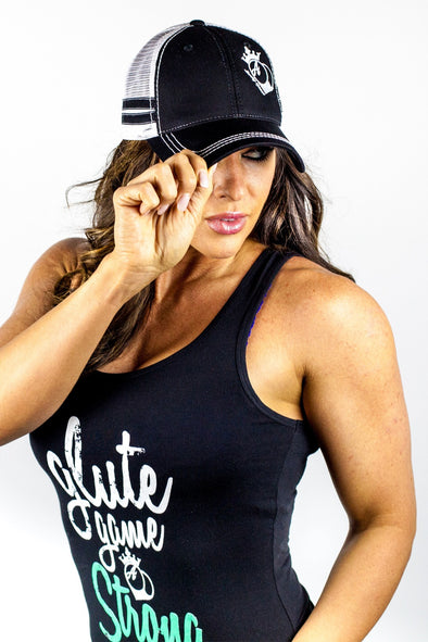Hats - BootyQueen™ Black Trucker Hat With Stripes