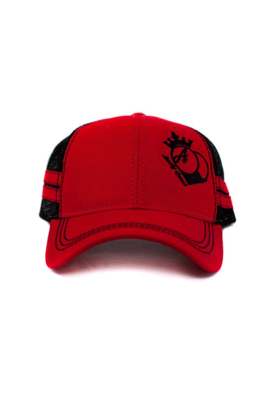 Hats - BootyQueen™ Red Trucker Hat With Stripes