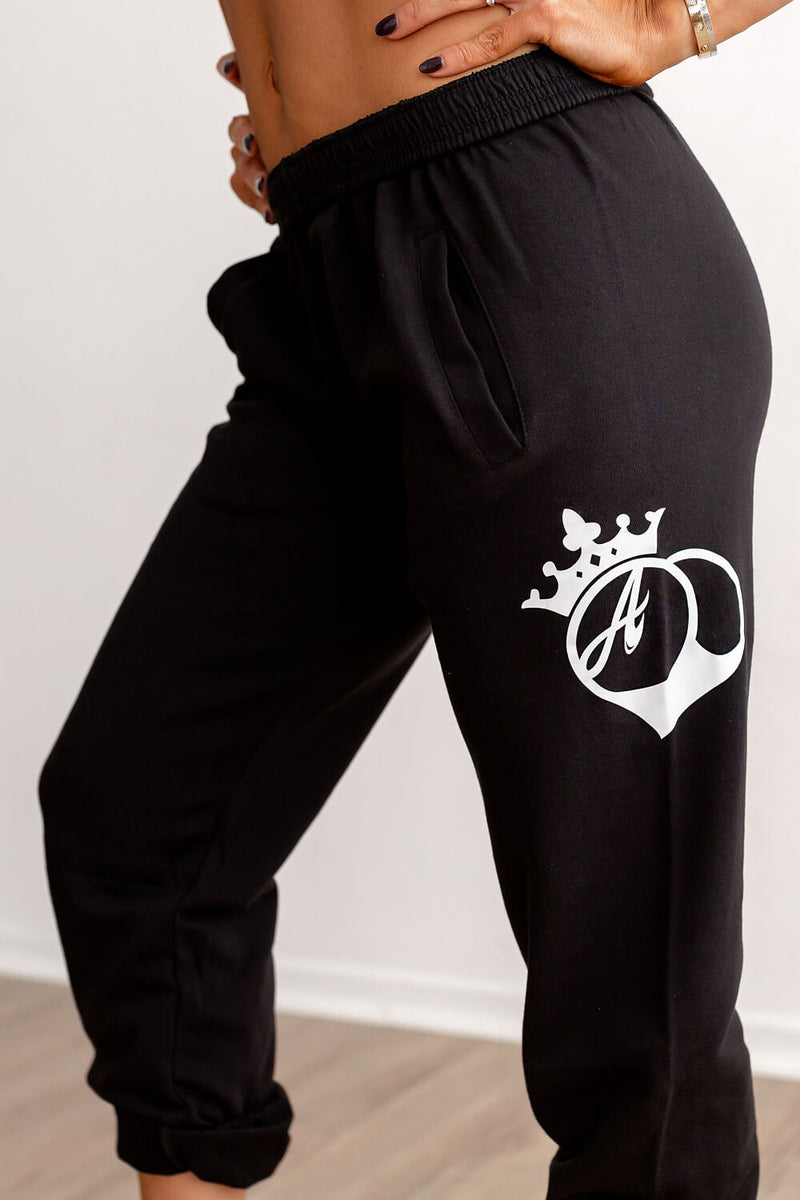 Joggers - Black With White Logo