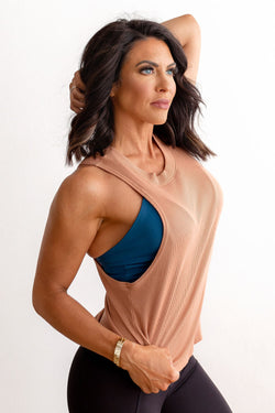 Ribbed Muscle Tank - Sandstone
