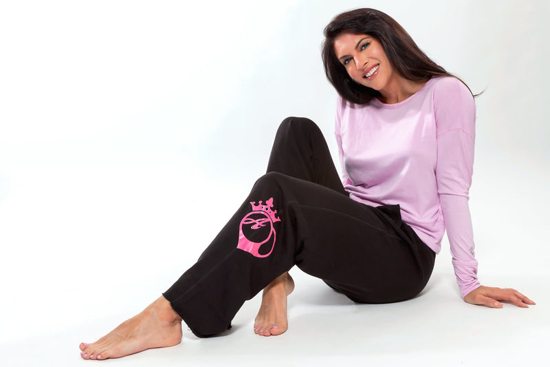 Sweatpants - Bootyqueen Sweats -Black With Pink Logo