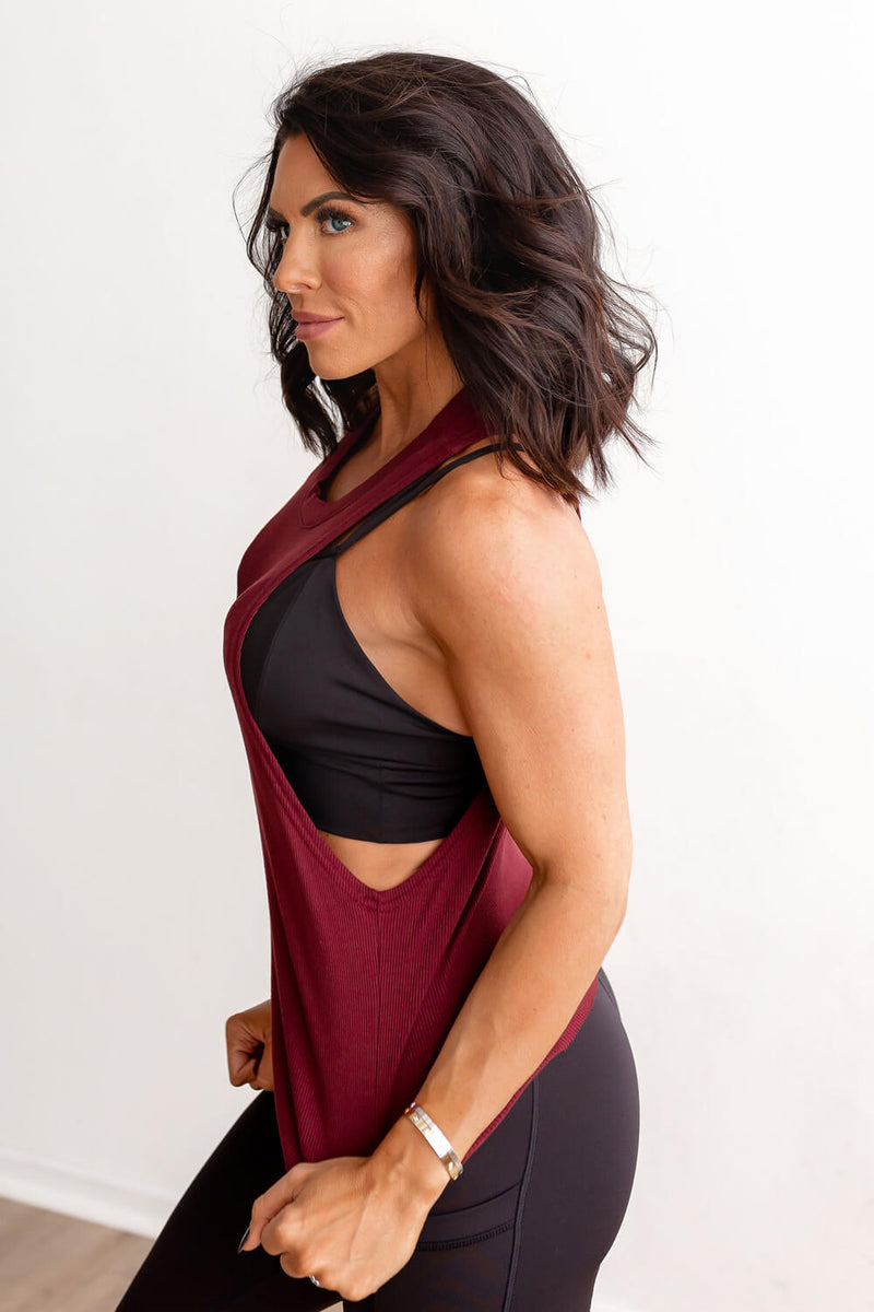 Ribbed Muscle Tank - Tawny Port