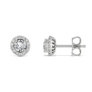 Round Brilliant Halo Studs
