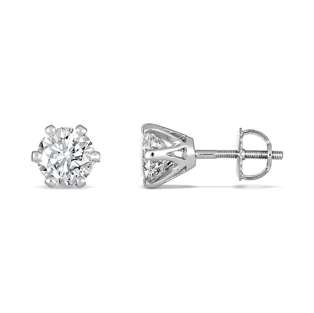 6-Claw Round Brilliant Diamond Studs