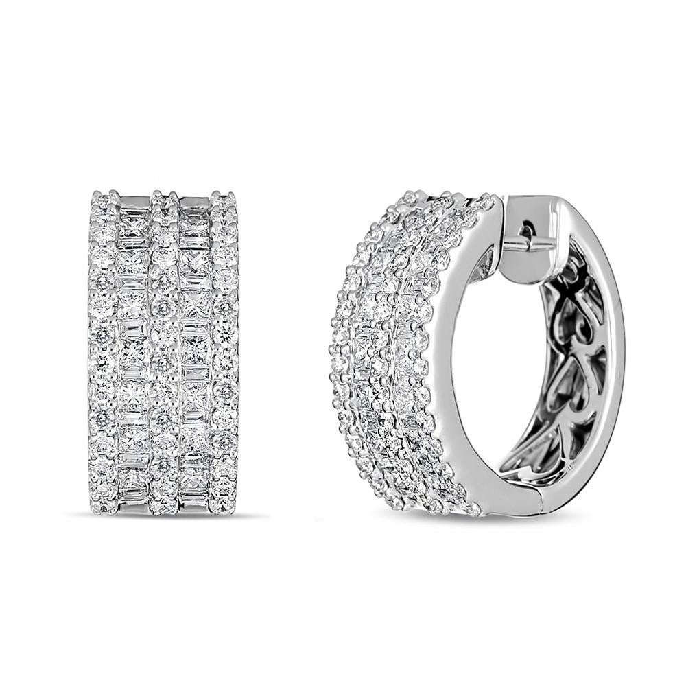 Round and Baguette Diamond Earrings