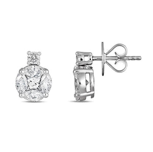 Round and Marquise Diamond Earrings