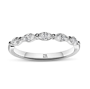 Shared Claw Marquise Diamond Wedder - White Gold