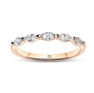Shared Claw Marquise Diamond Wedder - Rose Gold