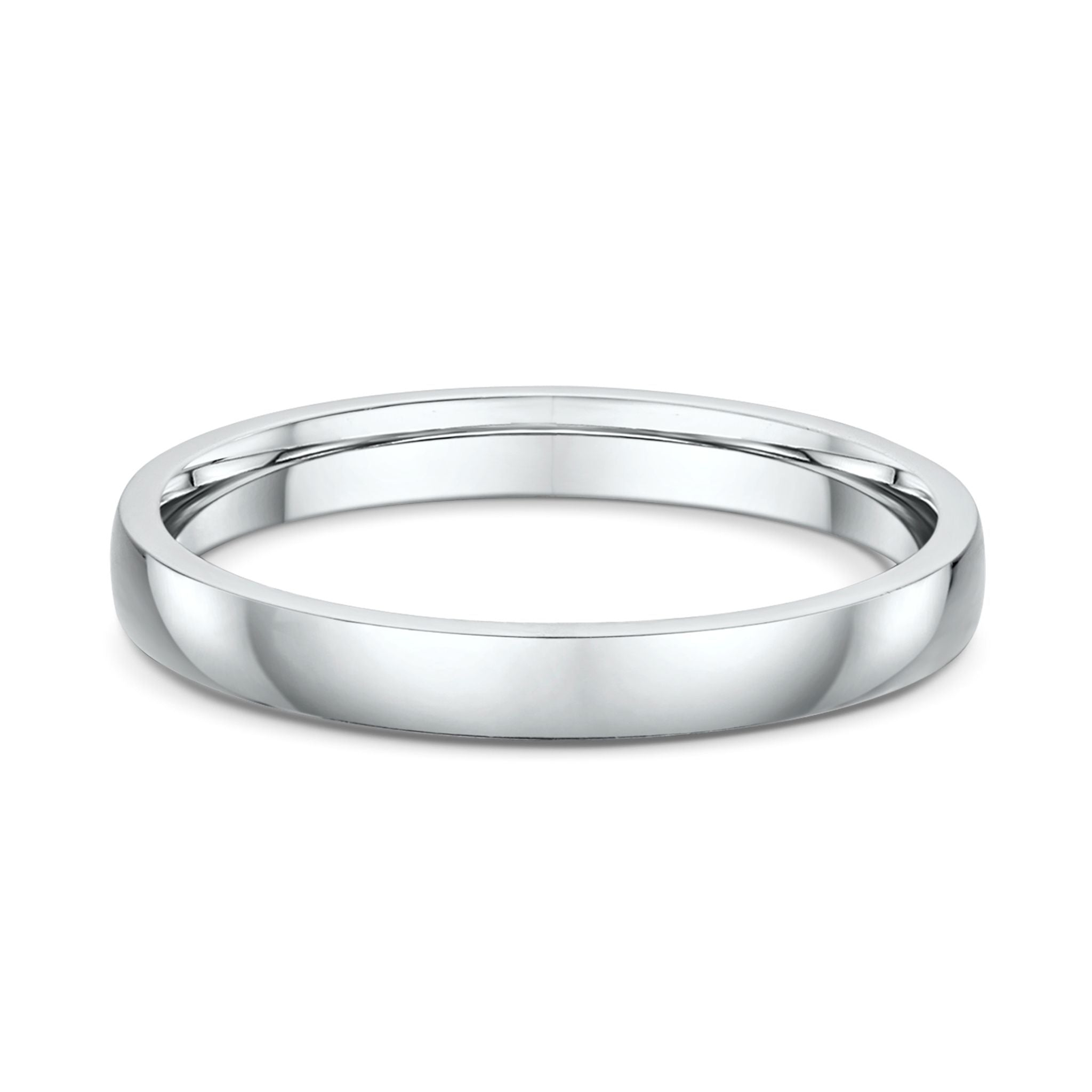 Low Half Round 3mm Wedding Band