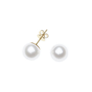 Yellow Gold Pearl Studs
