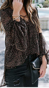 Lace Up Balloon Sleeve Blouse
