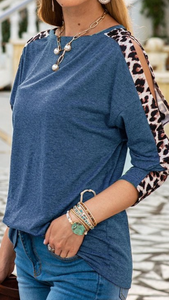 Leopard Print Cold Shoulder
