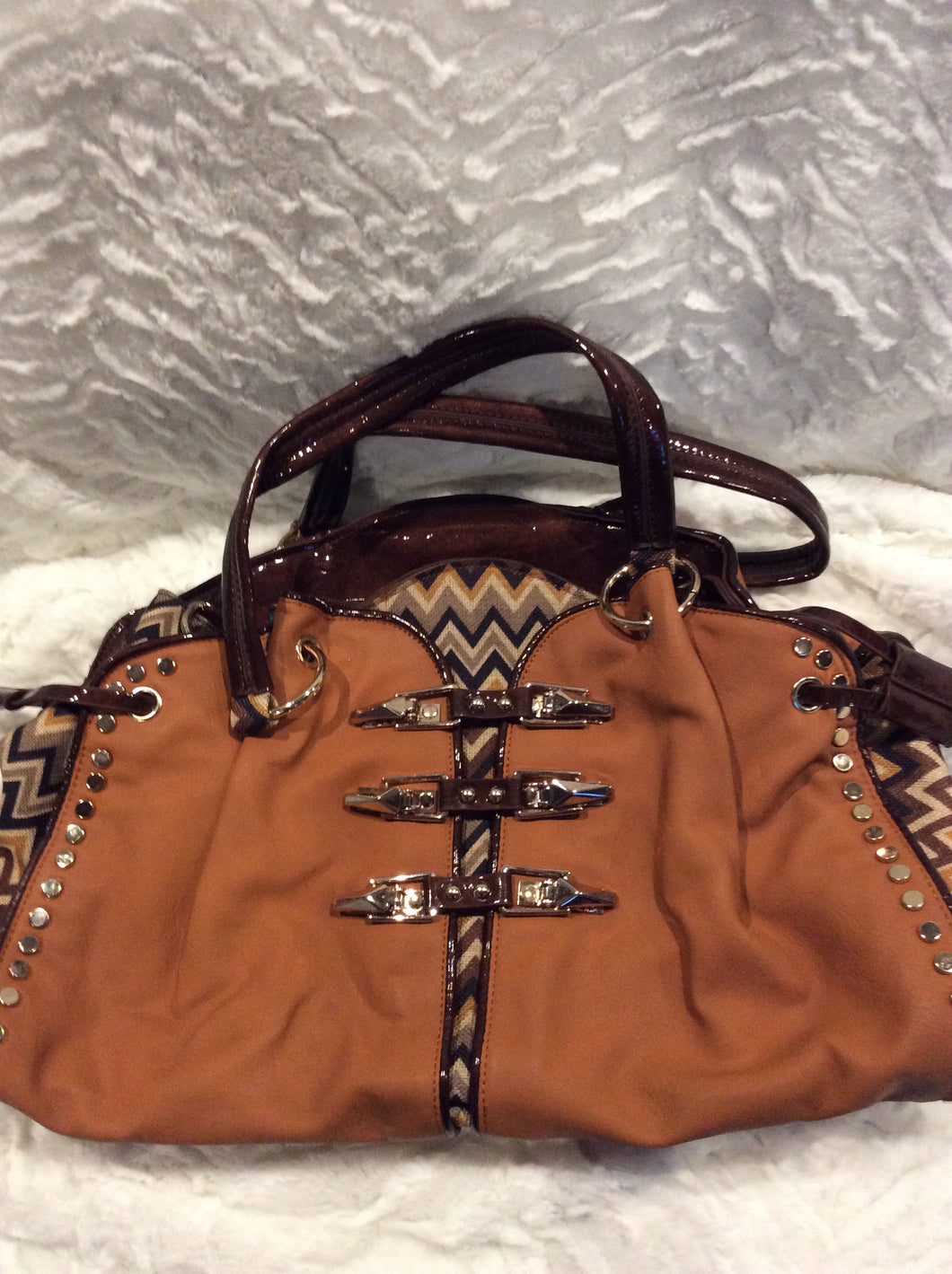 Brown Nicole Lee Chevron Handbag
