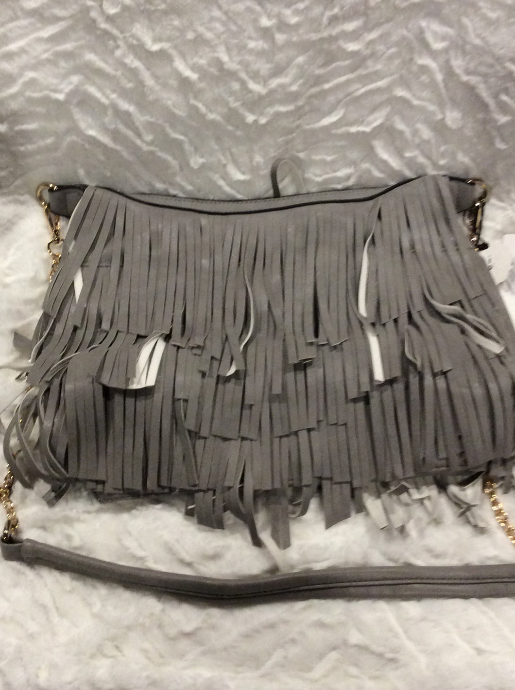 Gray Fringed Handbag