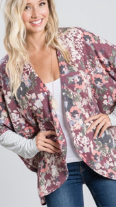 Floral and Stripe Print Cardigan