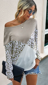 Loose Fit Leopard Print Top