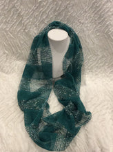 Load image into Gallery viewer, Teal and White Striped Net Infinity Scarf