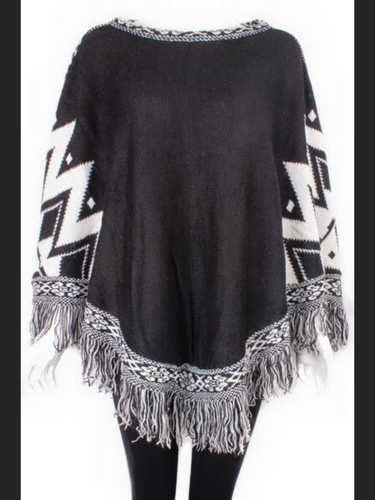 Black and Cream Poncho