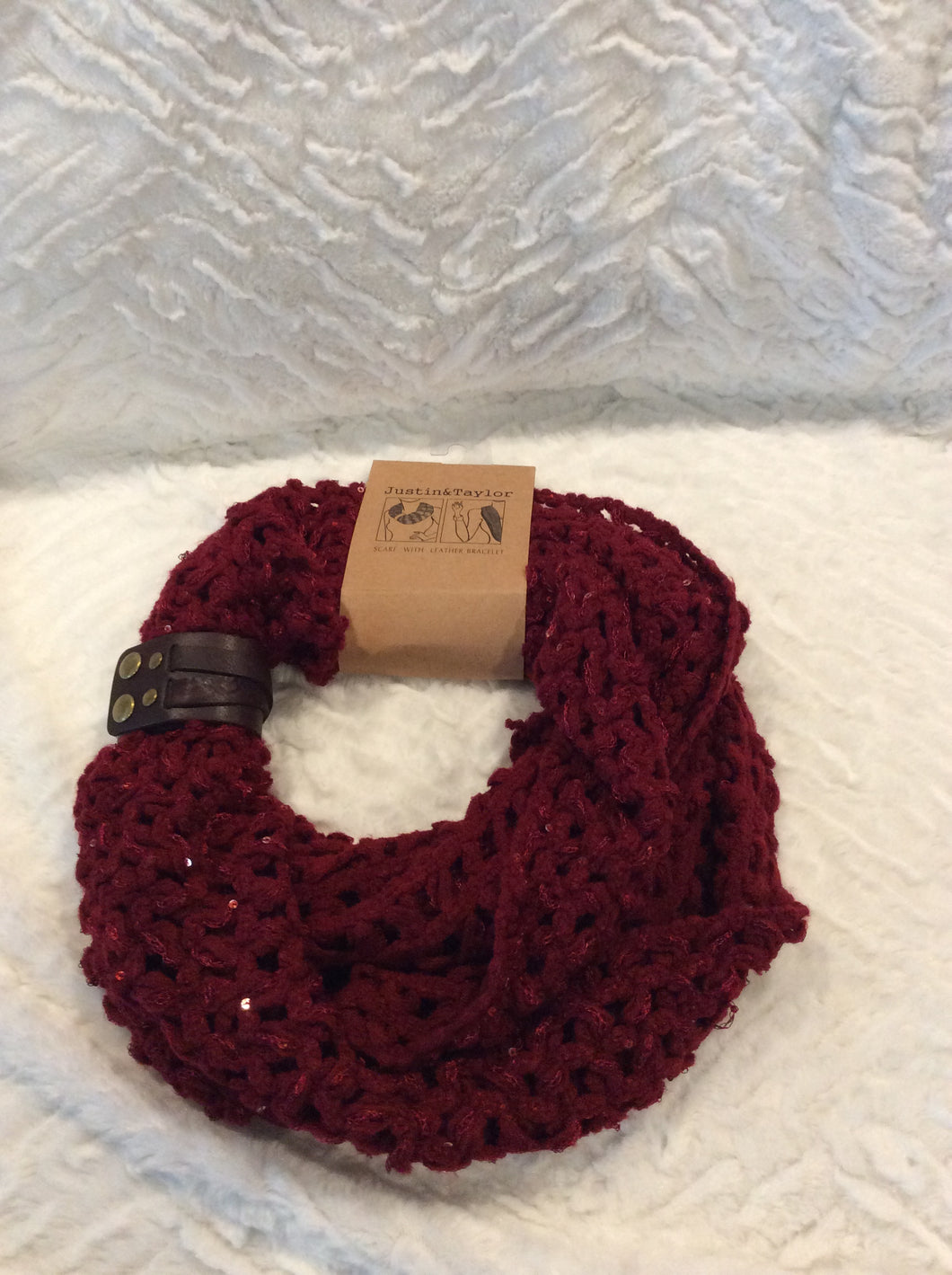 Burgandy Infinity Scarf with Leather Cuff Bracelet