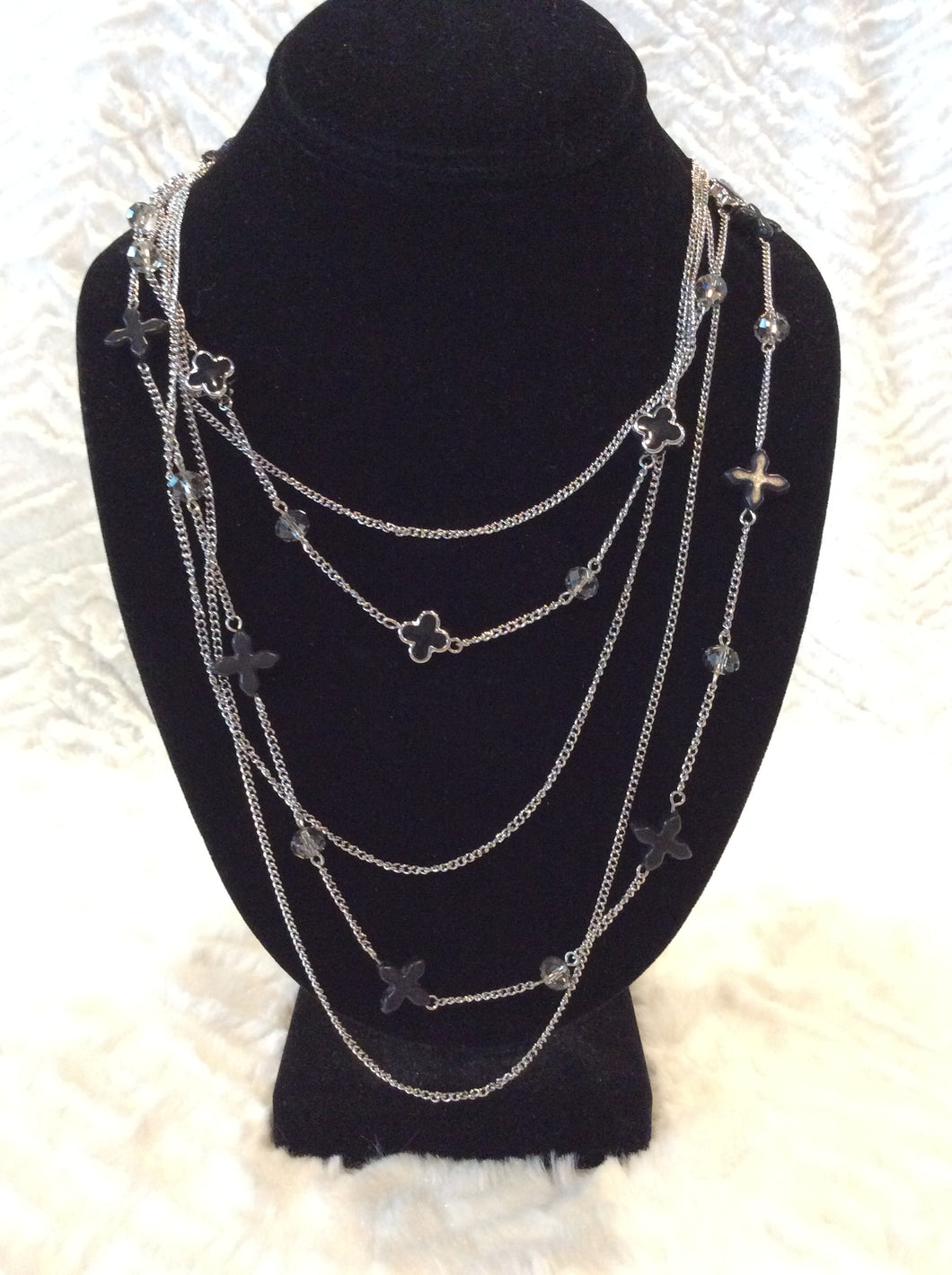 Black Multi Chain Cross NL Set