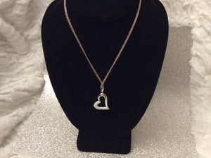 Sterling Silver Heart double chain necklace