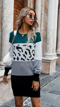 Load image into Gallery viewer, Leopard Sweater Dress