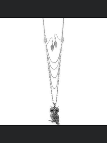 Owl Drop Necklace Set