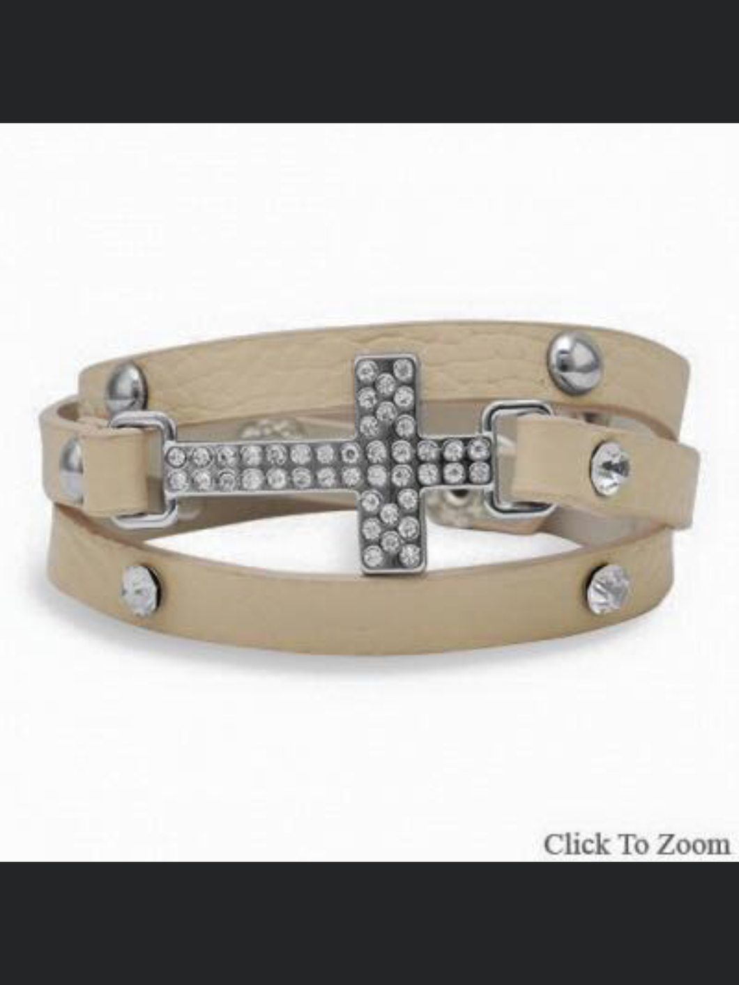 Tan Leather Cross Wrap Bracelet