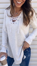 Load image into Gallery viewer, Lace Up Long Sleeve Top