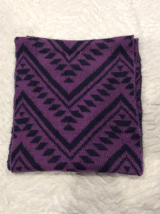 Purple and Black Graphic Infinity Scarf