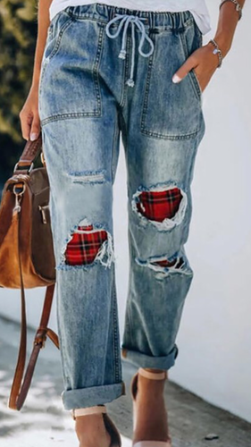 Plaid Drawstring Jean