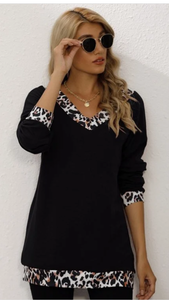 Cute Leopard Splicing Top