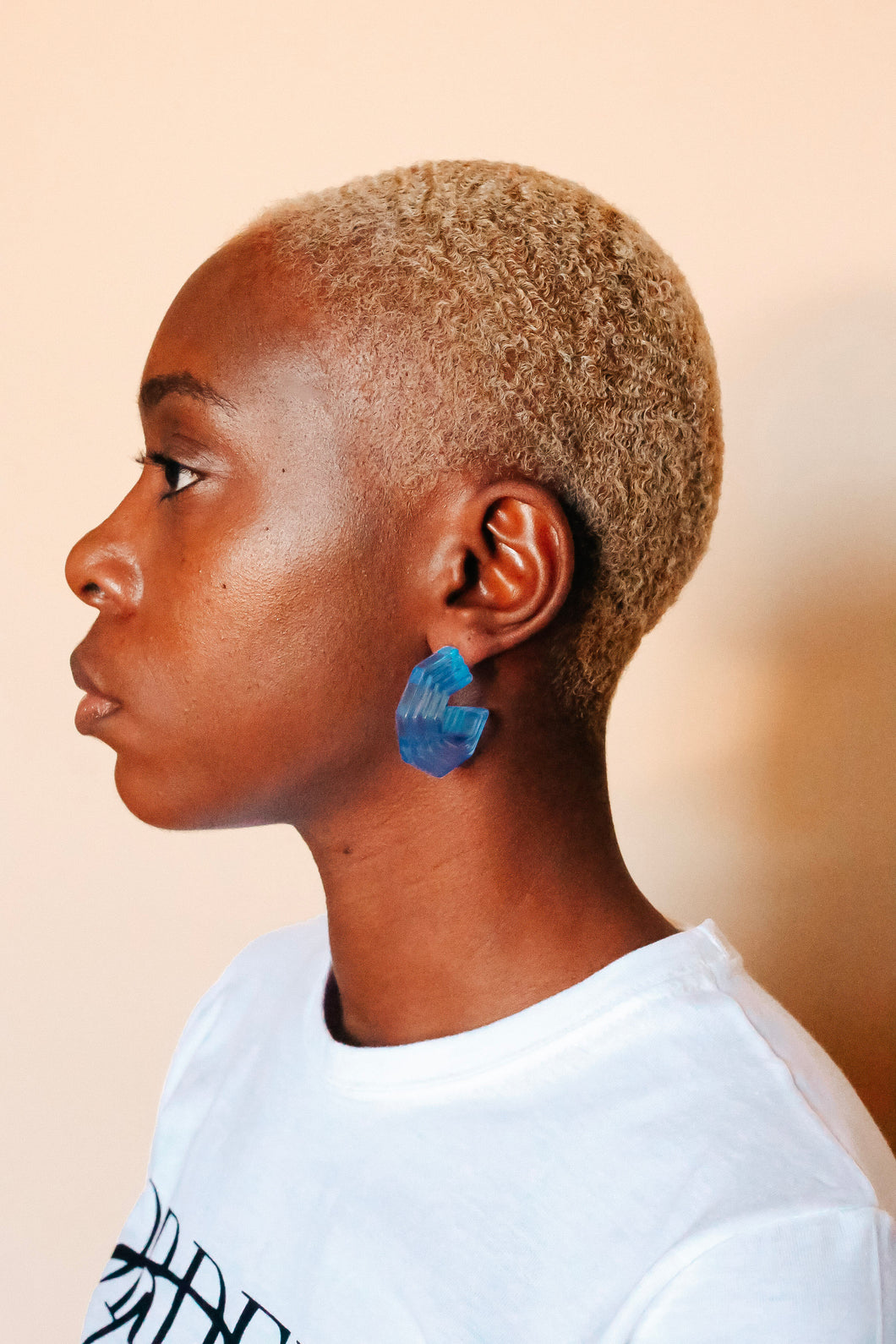 Blue Geometric Hoop Earrings