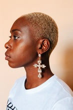 Load image into Gallery viewer, Crystal Cross Drop Earrings