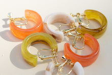 Load image into Gallery viewer, Orange Mini Hoop Clip-On Earrings