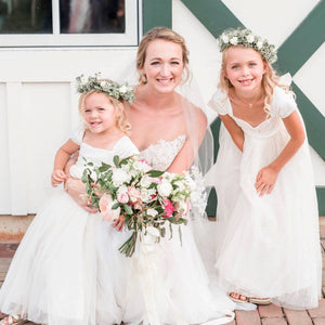 Bride and happy flower girls in simple and comfortable Annabelle dress by Ana Balahan