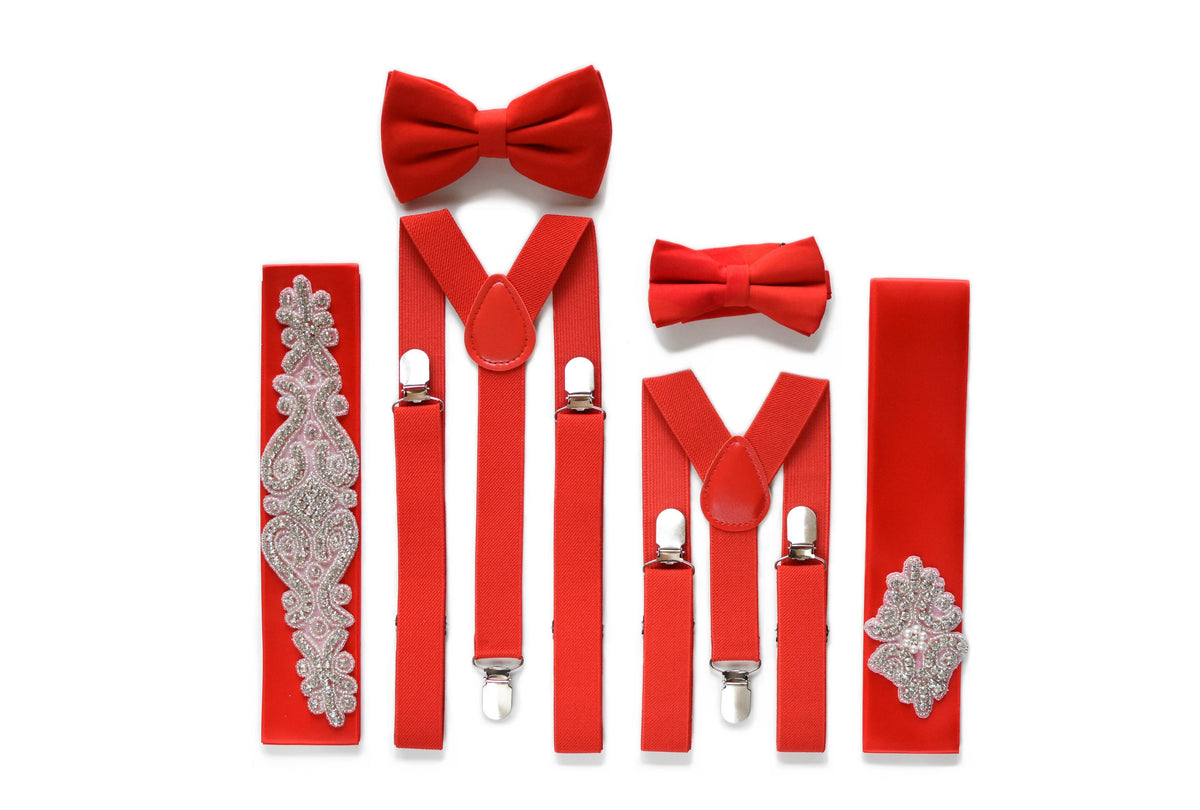 Red color matching accessories set page boy bow tie groomsmen suspenders flower girl belt bridesmaids rhinestone applique sash