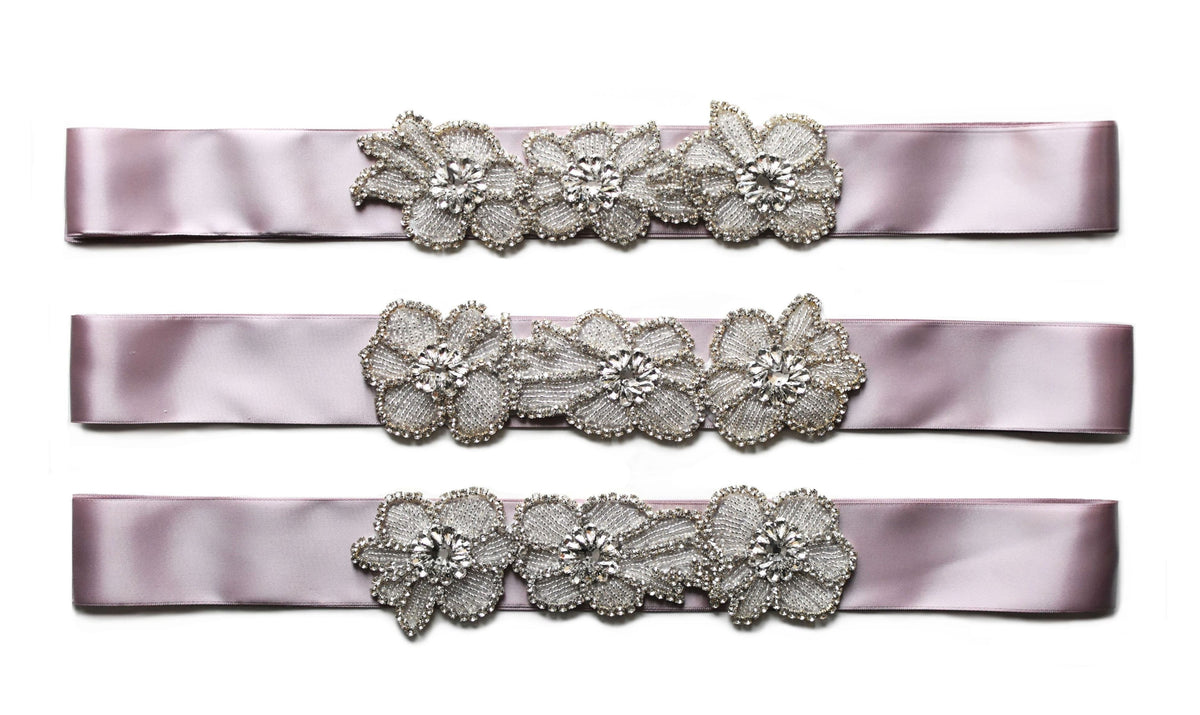 Beautiful sashes with rhinestone appliques decorated with beads and rhinestones